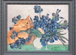 Irises and the Cat