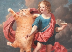 Boy Blowing Soap Bubbles and Cat Hunting for Them