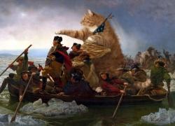 "Emanuel Leutze,  ""Washington Crossing the Delaware in a boat piloted by the Fat Cat"" / Эмануэль Лойце, «Вашингтон пересекает Делавэр в лодке, управляемой Толстым Котом»"