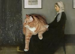 James Abbott McNeill Whistler. Arrangement in Grey, Black and Ginger No. 1 Whistler's Mother with the Cat / Джеймс Уистлер, Аранжировка в сером, чёрном и рыжем. Мать художника с котом