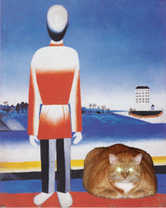 Kazimir Malevich, Man on Suprematic Landscape with Suprematic Cat