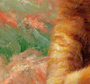 The detail of Haystack at Giverny  by Monet