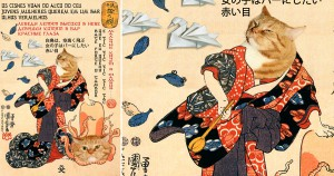 Utagawa-Kuniyoshi_a-cat-dressed-as-a-woman-tapping-the-head-of-an-octopus-min