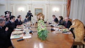 Коты-политики на встрече с президентом России.