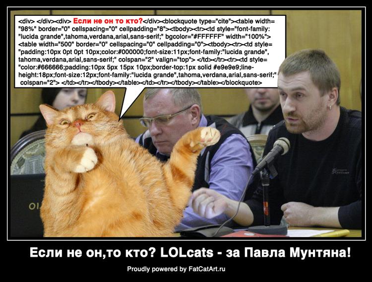 Интернет-коты - за Павла Мунтяна!