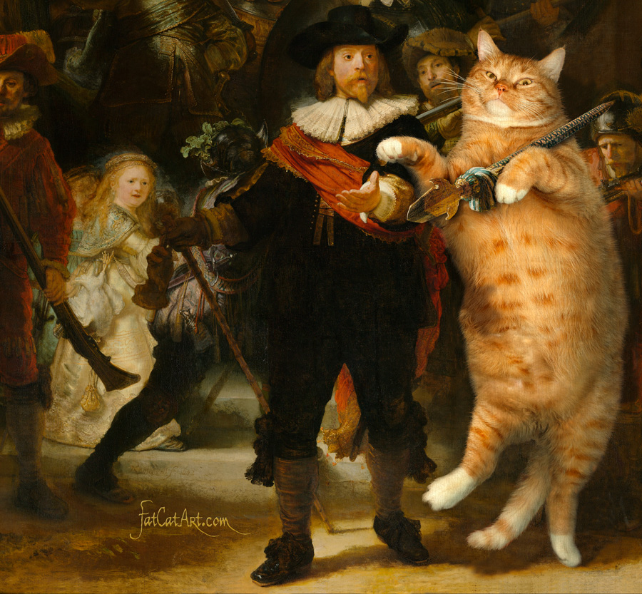 Rembrandt Harmenszoon van Rijn, The Night Watch (Company of Frans Banning Cocq and the Cat), detail