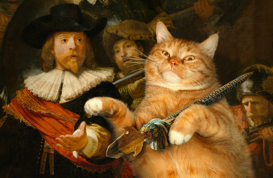 Rembrandt, The Night Watch with the Cat, close up