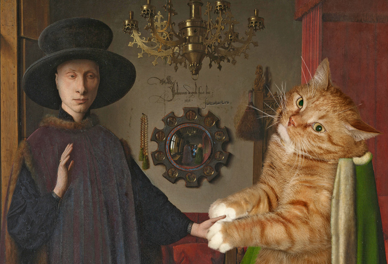 Jan van Eyck, The Arnolfini Portrait, detail