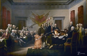 "John Trumbull's ""Declaration of Independence"", feather developped variant"