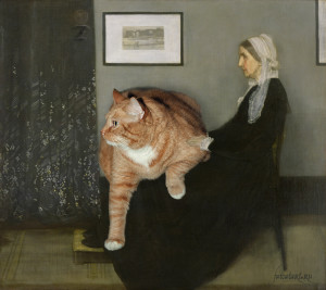 James Abbott McNeill Whistler. Arrangement in Grey, Black and Ginger No. 1 Whistler's Mother with the Cat