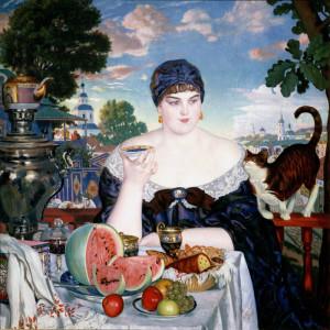 Борис Кустодиев. Купчиха за чаем из коллекции Русского музея