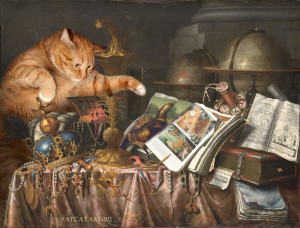 Edwaert Collier, Vanitas: The Cat and the CATalogue. 1662