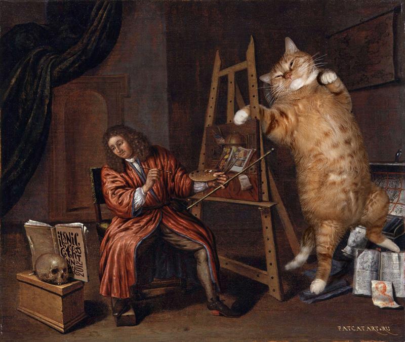 Эверт Кольер, Автопортрет с Vanitas: Кот и кОтолог