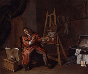 Edwaert Collier, Self-Portrait with Vanitas: commonly known version