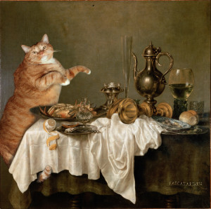 Willem Claesz Heda, Cat's Breakfast with a Crab. 1648