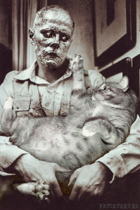 """Joseph Beuys, """"How to Explain Pictures to a Living Fat Cat"""", performance, 1965"""