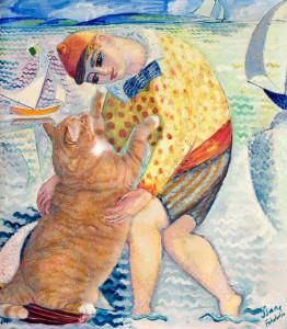 Isaac Gr?newald, Boy with sailing cat (Gosse med segelkatt), 1918