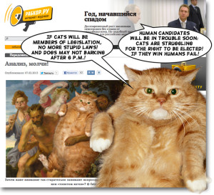 Thus spake Zarathustra the Cat to Putin the President: If cats will be members of legislation, no more stupid laws! Only against dogs barking after 6 P.M.!