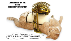 The real purpose of the Nietzsche's typewriter is to rub cat's belly. There is no purpose on Earth that would be nobler!