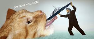 Джереми Деллер кормит голодного кота яхтой Романа Абрамовича. Ням-ням-ням-ням!
