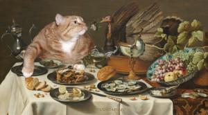 Питер Клас, Натюрморт с Котом, интересующимся пирогом с индейкой.
