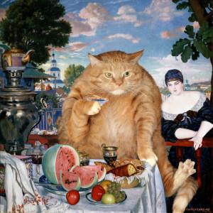 Kustodiev_Boris_-_Merchants_Wife_at_Tea_-cat-w2