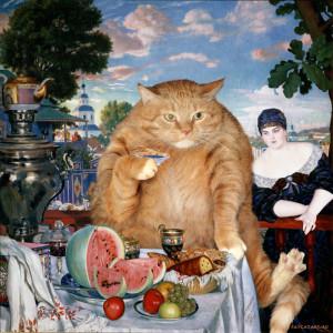 Kustodiev_Boris_-_Merchants_Wife_at_Tea_-cat-w3