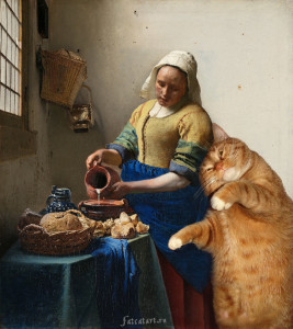 Vermeer-the-milkmaid-cat1