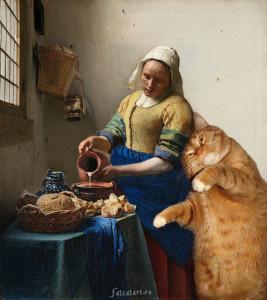Vermeer-the-milkmaid-cat2