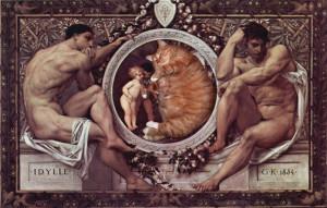 gustav-klimt-idylle-cat