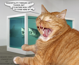 "Zarathustra the Cat as art critics of ""Immortal"" by Damien Hirst"