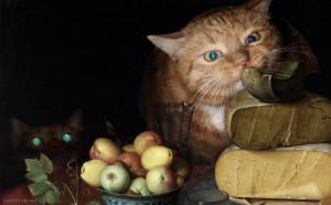Флорис Ван Дейк, Натюрморт с сырами и котами, деталь