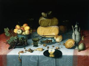 Флорис Ван Дейк, Натюрморт с сырами, но без котов. Из коллекции Государственного музея в Амстердаме