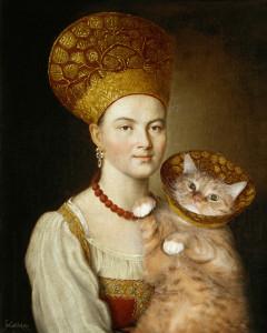 Портрет неизвестной в русском костюме и известного кота в ветеринарном воротнике