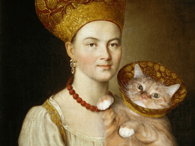 Ivan Argunov, Portrait of an Unknown Woman in Russian Costume and a Well Known Cat in a Vet Collar