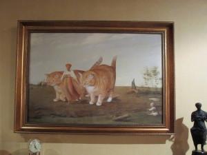 """Принт """"Венецианов, коты в работе"""" на стене старинного английского дома"""