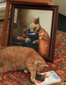 """Принт """"Вермеер, Молочница и Кот"""" в студии кота Заратустры"""