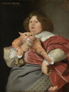 Бартоломеус ван дер Хельст. Толстый мальчик и Толстый Кот. Портрет Герарда Бикера с Котом