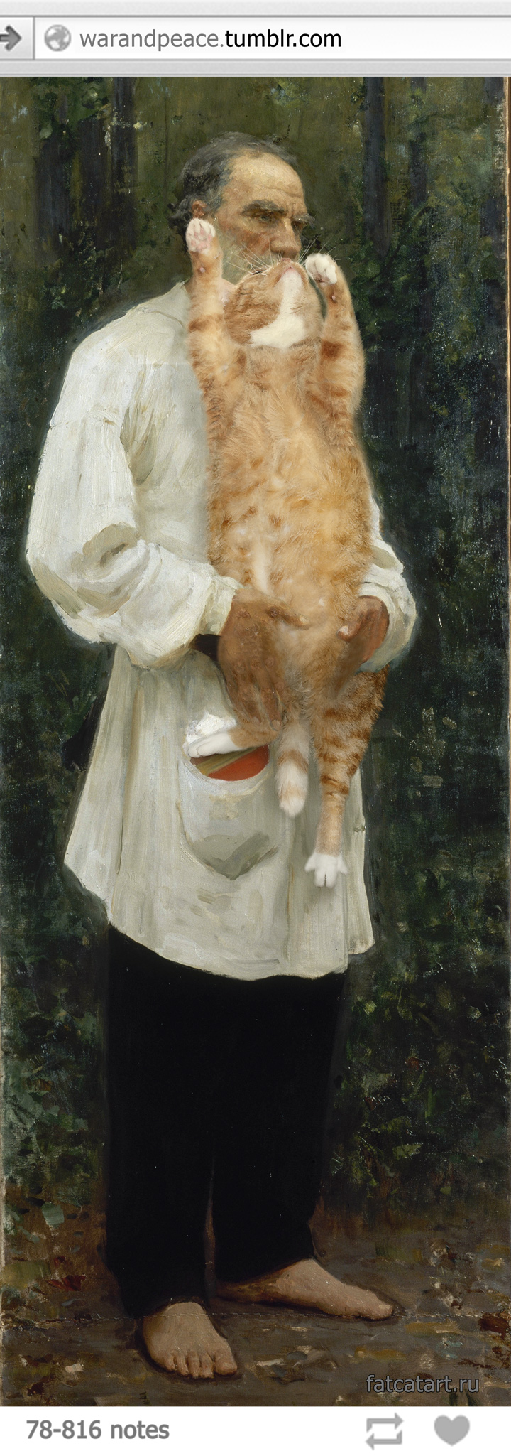 Ilya Repin, Leo Tolstoy with the cat beard, barefoot.
