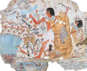 "Tomb of Nebamun, Cats Hunting in the marshes. ""I gotta fishy, I can has this birdy leg plizz?"""