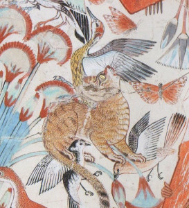 Wild cat hunting birds at the fresco at the Tomb of Nebamun, slightly restored