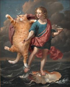 Карел Дюжарден. Мальчик, пускающий мыльные пузыри, и кот, охотящийся за ними. Аллегория бренности и быстротечности жизни