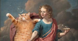 Dujardin-Boy-Blowing-Soap-Bubbles-cat-miniature-w
