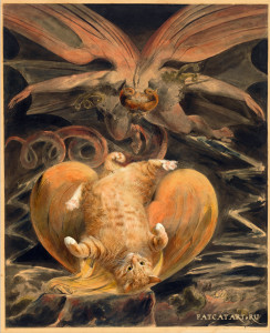 "William Blake, The Great Red Dragon and the Cat Clothed with Sun play ""surprised kitty"""