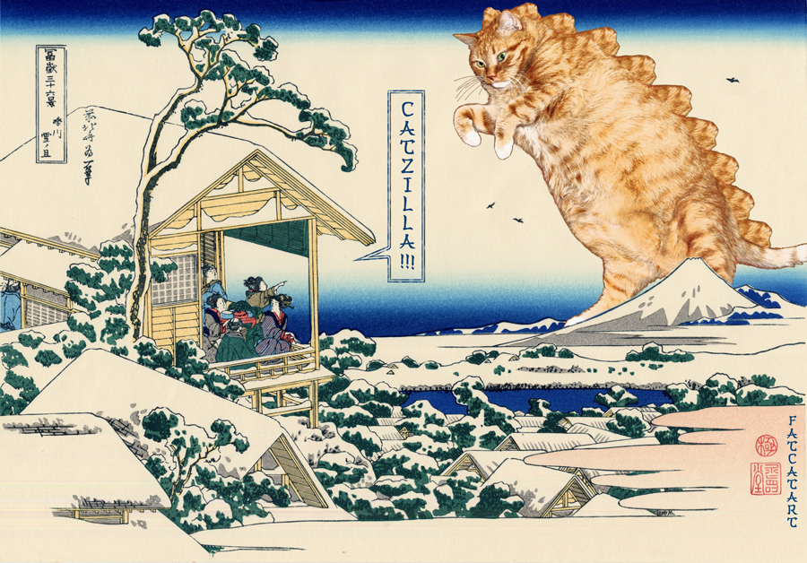 Кацусика Хокусай, Tea house at Koishikawa. The morning after a snowfall. Catzilla attacks. 36 views of Mount Fuji no 11