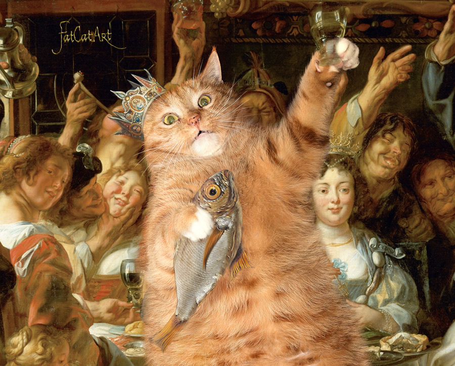 Jacob Jordaens, The Feast of Cats and Humans. The Toe-bean King drinks, detail