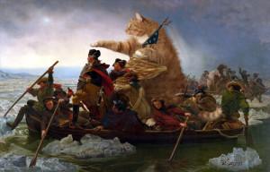 Эмануэль Лойце, «Вашингтон пересекает Делавэр в лодке, управляемой Толстым Котом»
