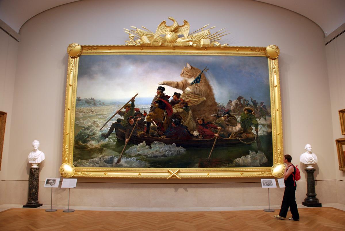 Эмануэль Лойце, «Вашингтон пересекает Делавэр», версия с котом в секретной комнате