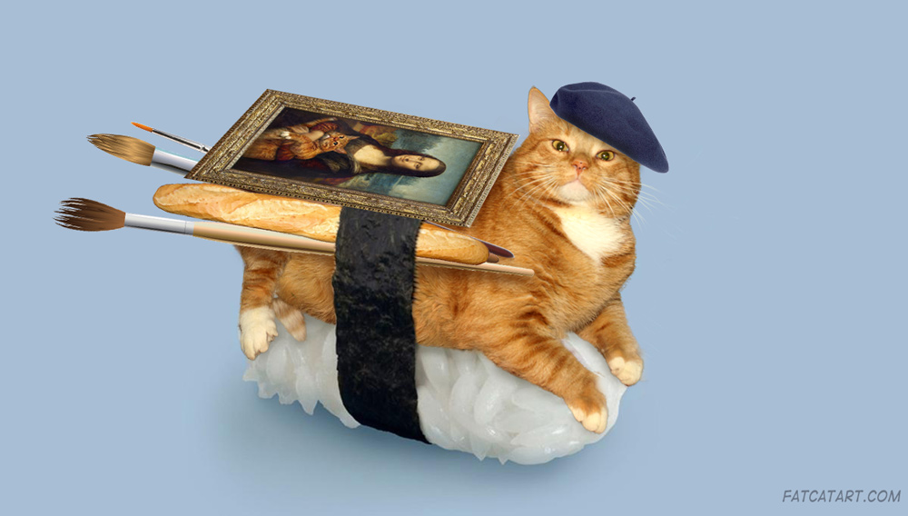 Zarathustra the Sushi Cat as a favorite gourmeowndize of an art student in Paris