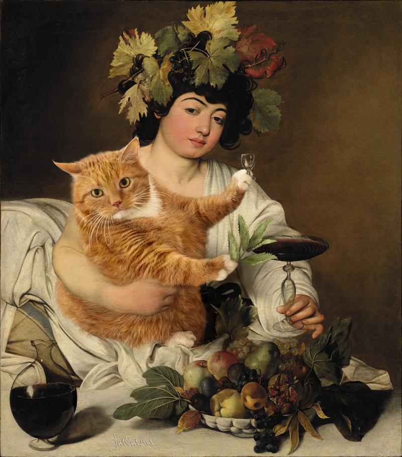 Caravaggio, Bacchus: Wine vs Catnip